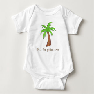 P is for Palm Tree Tropical Island Palmtree Green Baby Bodysuit