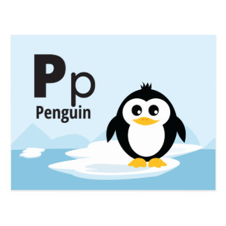 "P is for Penguin - Alphabet Flash Card-5.5 x 4.25"" Postcard"