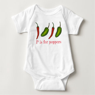 P is for Peppers Chili Jalapeño Veggie Letter P Baby Bodysuit