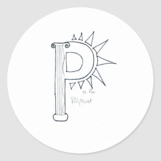 p is for polythiest round stickers