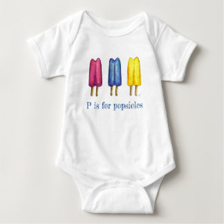 P is for Popsicles Twin Pop Ice Lolly Letter ABCs Baby Bodysuit