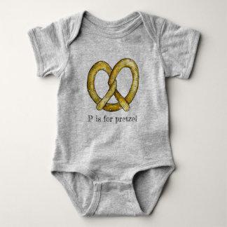 P is for Pretzel Salty Soft Pretzels Junk Food ABC Baby Bodysuit