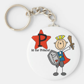 P is for Prince Tshirts and Gifts Basic Round Button Key Ring