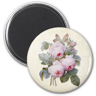 P.J. Redoute Bourbon Rose Bouquet 6 Cm Round Magnet