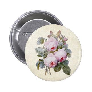 P.J. Redoute Bourbon Rose Floral 6 Cm Round Badge