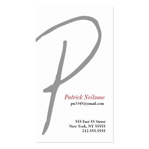 P Letter Alphabet Business Card Grey