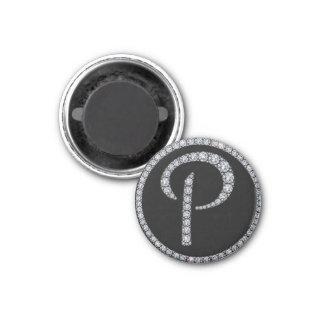 P monogram bling magnet
