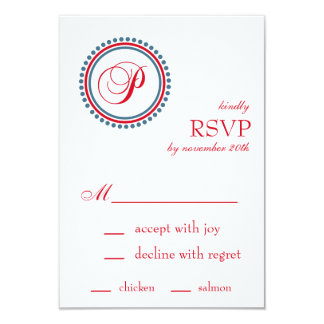 P Monogram Dot Circle RSVP Cards (Red / Blue) Personalized Invite