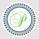 P Monogram (Navy Blue / Lime Green Dot Circle) Round Sticker