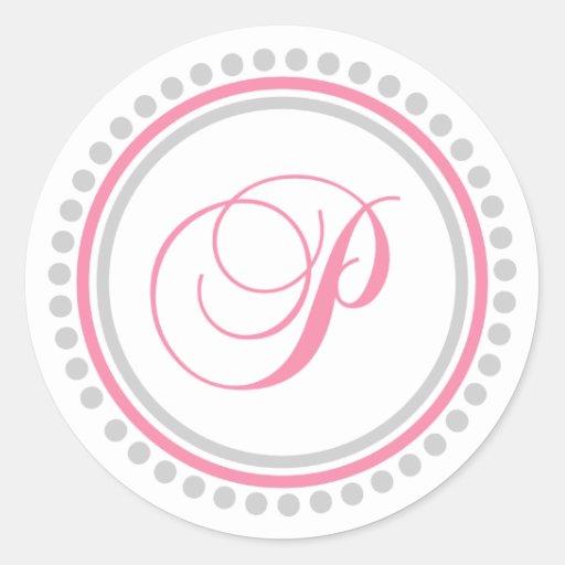 P Monogram (Pink / Silver Dot Circle) Sticker