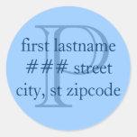 """P"" monogram return address labels - personalise Sticker"