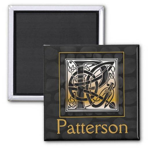 "P Name Monogram ""Celtic Black Stone"" Square Magnet Refrigerator Magnet"