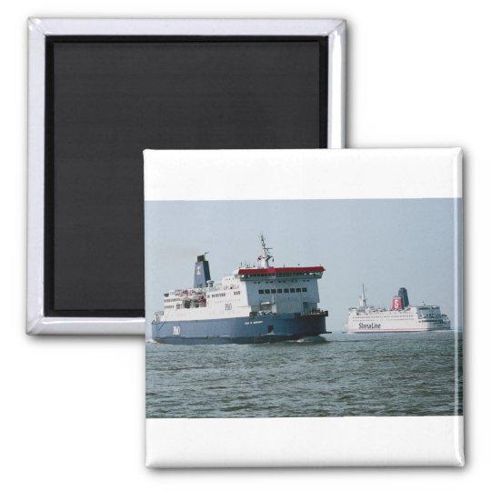 "P & O European Ferries' ""Pride of Burgundy"" passin Square Magnet"