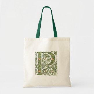 P Ornate Floral Leafy Monogram Budget Tote Bag