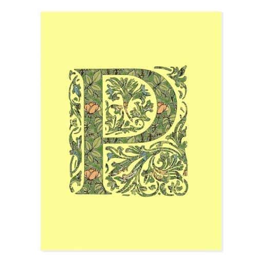 P Ornate Floral Leafy Monogram Postcard