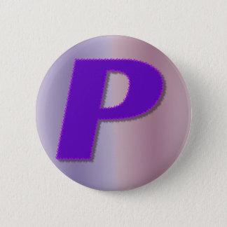P purple mnogram 6 cm round badge