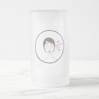 P.S. I Love You Frosted Glass Mug
