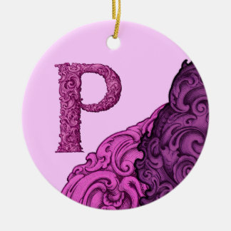 P - The Falck Alphabet (Pink) Round Ceramic Decoration