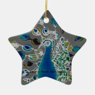 © P Wherrell Baby's first Christmas peacock Ceramic Star Decoration
