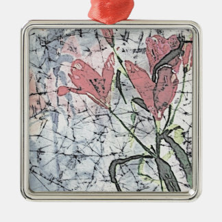 © P Wherrell Batik lilies in pink stylish trendy Silver-Colored Square Decoration