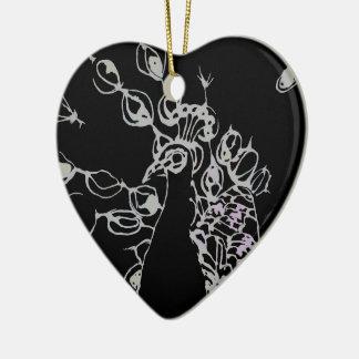 © P Wherrell Contemporary black and white peacock Ceramic Heart Decoration