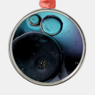 © P Wherrell Contemporary blue circles abstract Silver-Colored Round Decoration