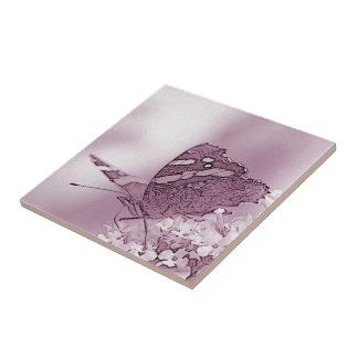 © P Wherrell Contemporary butterfly on buddleia Small Square Tile