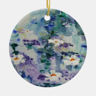 © P Wherrell Contemporary fine art waterlilies Round Ceramic Decoration