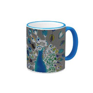 © P Wherrell Contemporary impressionist peacock Ringer Mug