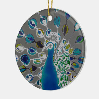 © P Wherrell Contemporary impressionist peacock Round Ceramic Decoration