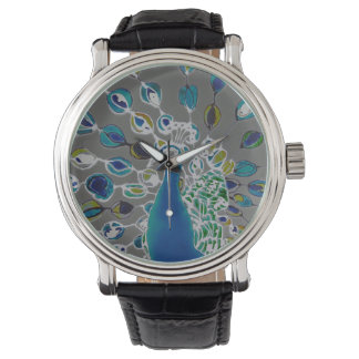 © P Wherrell Contemporary impressionist peacock Watch