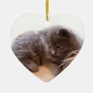 © P Wherrell Cute long haired grey kitten Christmas Ornament