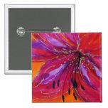 © P Wherrell Fine art lily painted on silk 15 Cm Square Badge