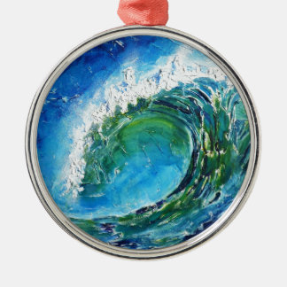 © P Wherrell Fine art oil painting wave ocean sea Christmas Ornament