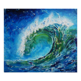 © P Wherrell Fine art oil painting wave ocean sea Poster