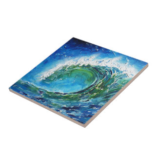 © P Wherrell Fine art oil painting wave ocean sea Small Square Tile