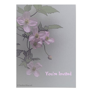 """© P Wherrell Gorgeous stylish pale pink clematis 5"""" X 7"""" Invitation Card"""