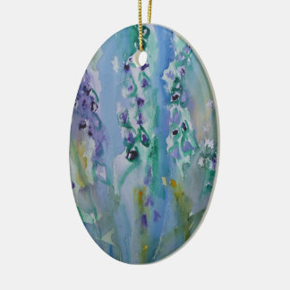 © P Wherrell Stylish trendy impressionist bluebell Ceramic Oval Decoration