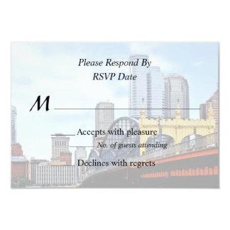 PA - Smithfield St Bridge and Pittsburgh Skyline 9 Cm X 13 Cm Invitation Card