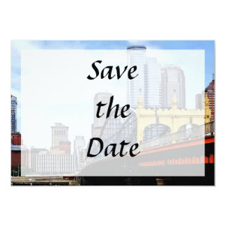 PA - Smithfield St Bridge and Pittsburgh Skyline 13 Cm X 18 Cm Invitation Card