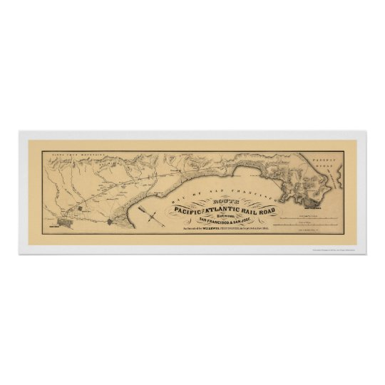 Pacific & Atlantic Railroad Map 1851 Poster