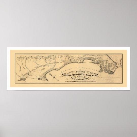 Pacific & Atlantic Railroad Map 1851 Poster