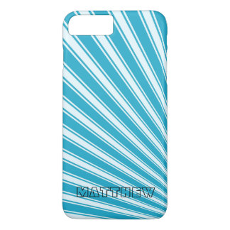 Pacific Blue Color Stripe Funky Pattern iPhone 7 Plus Case