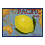 Pacific Citrus Lemon Vintage Fruit Crate Label Art Poster