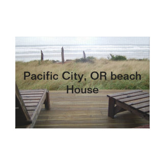 Pacific City, OR Beach house Canvas Print
