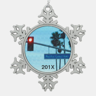 Pacific Coast Highway 1 Sign | California Souvenir Snowflake Pewter Christmas Ornament