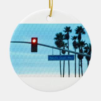 Pacific Coast Highway Sign California Beach Sky Christmas Ornament