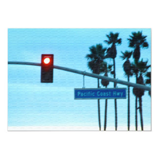 Pacific Coast Highway Sign California Beach Sky Custom Invitations