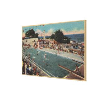 Pacific Grove, CA - Municipal Swimming Pool View Canvas Print