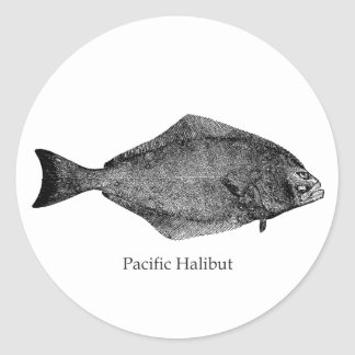 Pacific Halibut Logo Classic Round Sticker